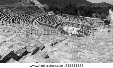 Amphitheater (Coliseum) in Ephesus (Efes) Turkey, Asia - stock photo