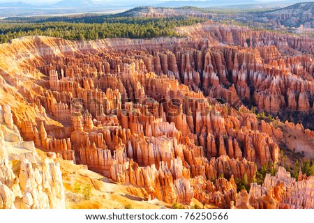 Amphitheater from Inspiration Point at sunrise, Bryce Canyon National Park, Utah, USA - stock photo