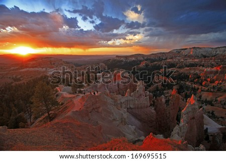 Amphitheater from Inspiration Point, Bryce Canyon National Park, Utah, USA - stock photo