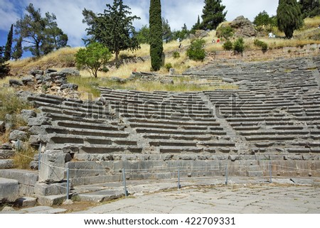 Amphitheater in Ancient Greek archaeological site of Delphi,Central Greece - stock photo