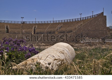 Amphitheater in Caesarea Maritima,called Caesarea Palaestina from 133 AD onwards, was a city and harbor built by Herod the Great about 25-??13 BC.Today, its ruins lie on the Mediterranean coast,Israel