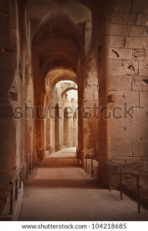 Amphitheater in El Jem, Tunisia - stock photo