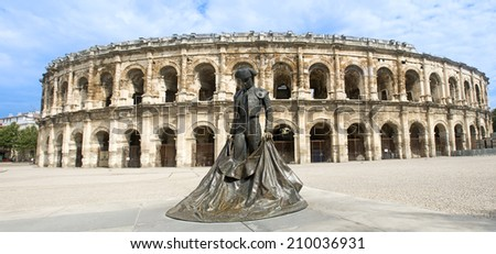 amphitheater in Nimes, Roman Dioliseum architecture in the town