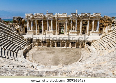 Amphitheater of the ancient ruined city of Hierapolis - stock photo