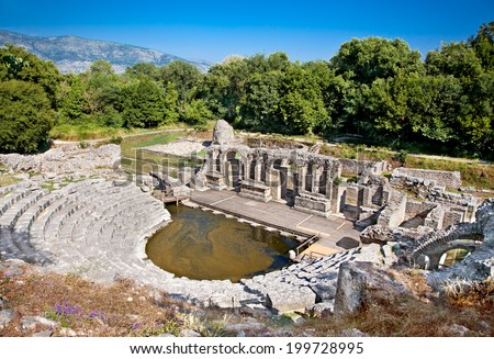 Amphitheater- Remains of the ancient Baptistery from the 6th century at Butrint, Albania. This Archeological site is World Heritage Site by UNESCO. - stock photo
