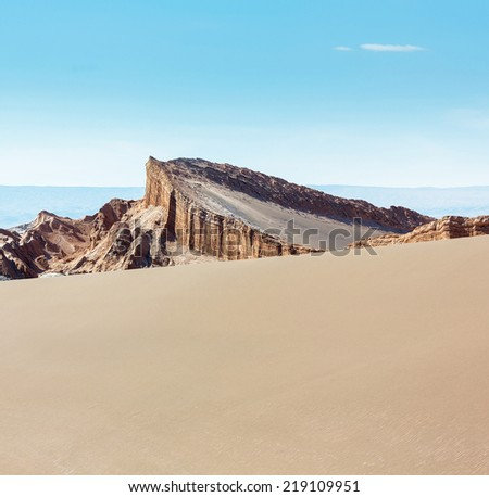 Amphitheatre is beautiful geological formation of Moon Valley in Atacama Desert, Chile, Latin America - stock photo