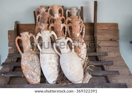 Amphoras in Bodrum Castle, Aegean Coast of Turkey - stock photo