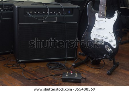 amplifier with guitar electric and foot control buttons effect guitar / music instrument set for guitarist