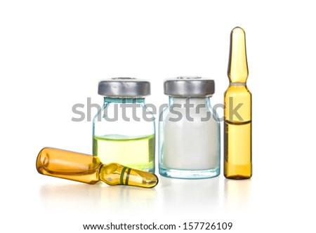 Ampules isolated on white - stock photo
