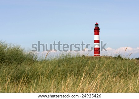 Amrum lighthouse in summer - stock photo