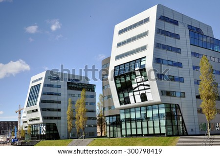 AMSTERDAM - APR 30: Modern high-tech architecture in Amsterdam on April 30. 2015 in Netherlands - stock photo