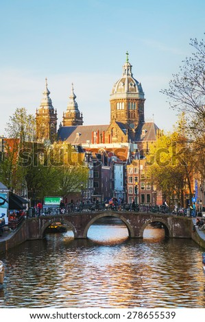 AMSTERDAM - APRIL 15: Basilica of Saint Nicholas (Sint-Nicolaasbasiliek) on April 15, 2015 in Amsterdam, Netherlands. Officially the church was called St. Nicholas inside the Walls.