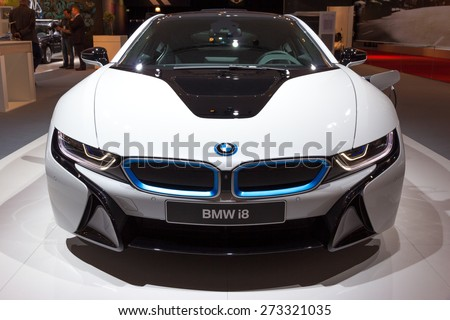 AMSTERDAM - APRIL 16, 2015: BMW i8 plug-in hybrid sports car at the AutoRAI 2015. - stock photo