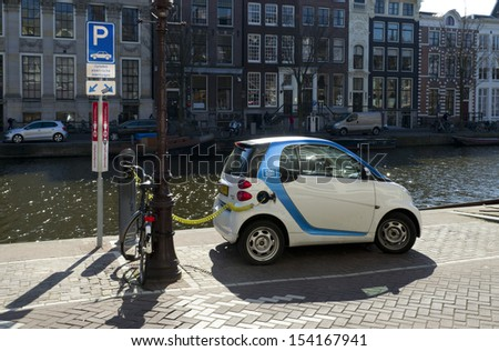 AMSTERDAM - APRIL 1: Electric car on april 1, 2013 in amsterdam. Car2go has 300 electric cars for rent in the city. Also they offer free parking in special car parks and at the loading points - stock photo