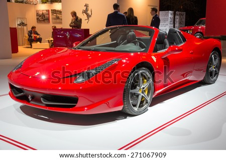 AMSTERDAM - APRIL 16, 2015: Ferrari 458 Spider at the AutoRAI 2015. The 458 replaced the Ferrari F430 in 2009 and is now replaced by  the Ferrari 488 GTB which was unveiled in Geneva 2015.  - stock photo