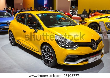 AMSTERDAM - APRIL 16, 2015: The new Renault Clio RS 220 EDC Trophy car at the AutoRAI 2015. - stock photo