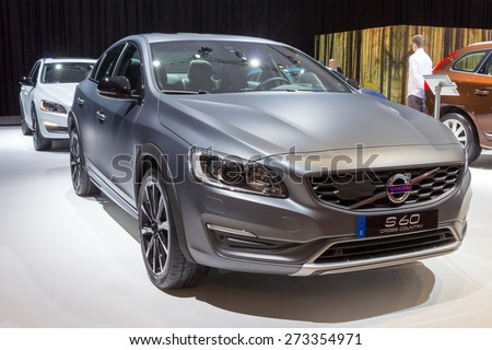 AMSTERDAM - APRIL 16, 2015: Volvo S60 Cross Country at the AutoRAI 2015. Volvo is a Swedish premium automobile manufacturer, headquartered in Gothenburg.