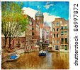 Amsterdam - artwork in painting style - stock vector