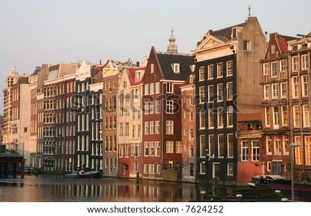 Amsterdam at sunset - stock photo