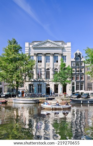 AMSTERDAM-24 AUG. 2014. Felix Meritis. Since 1988 Felix Meritis Foundation has been located in a classical building on the Keizersgracht in Amsterdam as a European center for art, culture and science.