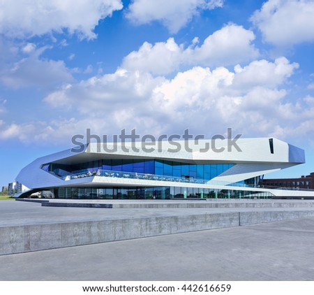AMSTERDAM-AUGUST 19, 2012. EYE Film Institute building exterior. In April of 2012, the Dutch Queen opened the new film museum which became quickly one of the main attractions of the Dutch capital. - stock photo