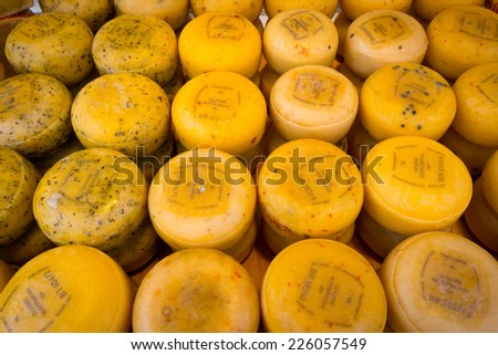 AMSTERDAM - AUGUST 30: Great choice of cheese on the market on August 30, 2014 in Amsterdam. - stock photo