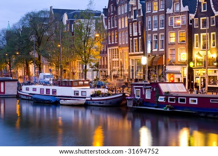 amsterdam by night - stock photo