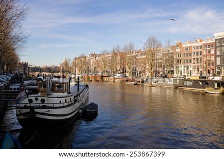Amsterdam canal - stock photo