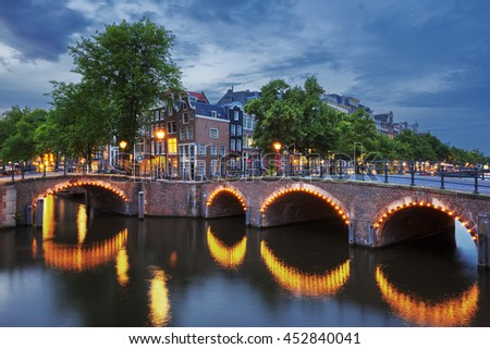 Amsterdam Canal and Light - stock photo