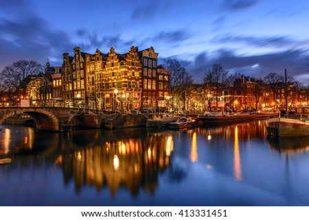 Amsterdam canal during twilight time - stock photo