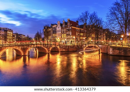 Amsterdam canal during twilight time