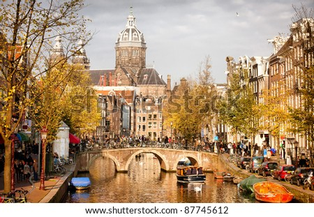 Amsterdam canal in Red District - stock photo