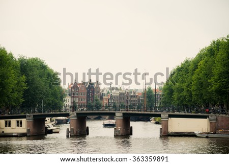 Amsterdam Canal Scene, The Netherlands - stock photo