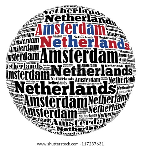 Amsterdam capital city of Netherlands info-text graphics and arrangement concept on white background (word cloud) - stock photo