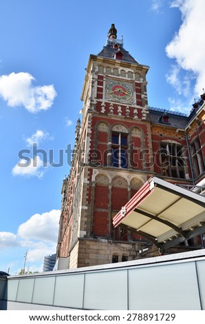 Amsterdam Central Station or Amsterdam Centraal in Netherlands - stock photo