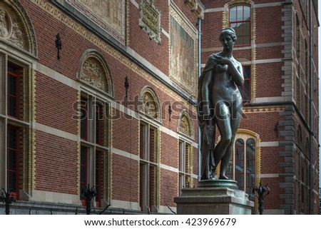 AMSTERDAM, CIRCA MAY, 2014: Detail from Rijksmuseum. Capital city of the Netherlands is one of the most popular tourist destinations in the world.