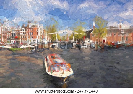 Amsterdam city in Holland, artwork in painting style - stock photo