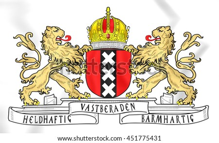 Amsterdam Coat of Arms, Netherlands. 3D Illustration.