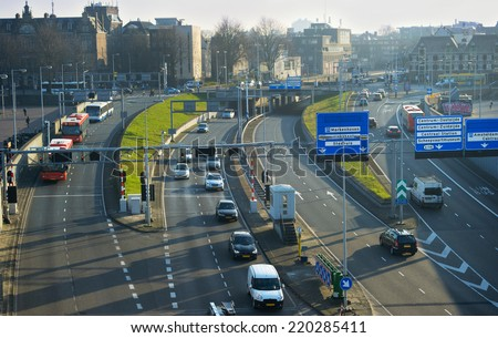 Amsterdam highway, aerial view on traffic . Netherlands - stock photo