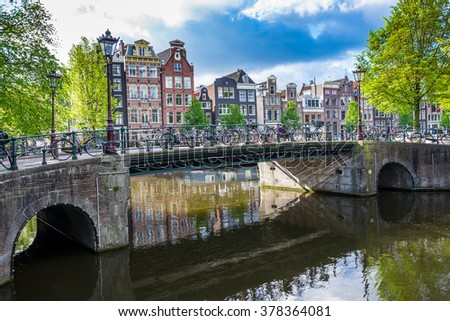 Amsterdam Houses and Canal Scene, The Netherlands