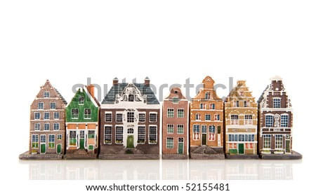 Amsterdam in miniature houses isolated over white - stock photo