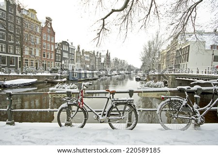 Amsterdam in winter in the Netherlands - stock photo