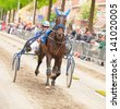 AMSTERDAM - JUNE 1: Unidentified driver and his horse participate in the annual short distance horse race held in the van der Pek street of the city, June 1, 2013,  Amsterdam, The Netherlands - stock photo