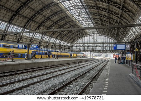 AMSTERDAM, NETHERLANDS - APRIL 18, 2016: Inside the Station Centraal, the main railway station in Amsterdam.