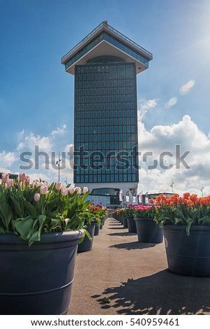Amsterdam, Netherlands, April 10, 2016: planters filled with tulips  during the Tulip Festival in Amsterdam with on the background the A'dam tower.