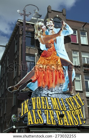 Amsterdam,netherlands-april 27, 2015:  Poster of king and queen of Holland at the barking fish in amsterdam