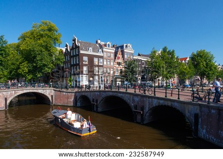 Amsterdam, Netherlands - August 5, 2014: Canals of Amsterdam. Favorite place for walking and leisure travelers.