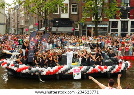 Amsterdam, Netherlands - August 2, 2014: Gay Pride - annual event for the protection of human rights and civil equality. - stock photo