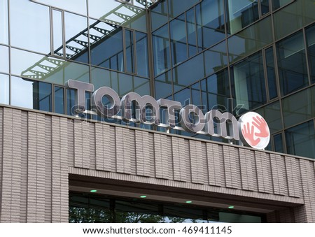 Amsterdam, Netherlands-august 13, 2016: Letters tom tom on the headquarter of tom tom in Amsterdam