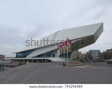 Amsterdam, Netherlands - August 2017: Modern building of the EYE Filmmuseum